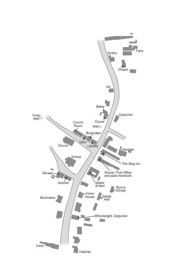 Rackenford Street Plan 1940s   (8 shops, 12 trades with local customers)