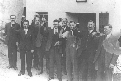 The Bell Ringers outside The Stag 1940 after ringing for Anne Chamberlain's wedding